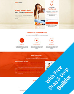 Lead Generating Online Income Squeeze Page Template With Free Landing Page Builder