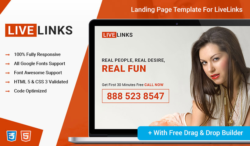 Fully Responsive Dating PPC Landing Page Design Template With Free Landing Page Builder