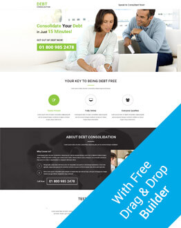 Debt Relief and Debt Settlement Fully Responsive And Functional PPC Landing Page Design Template