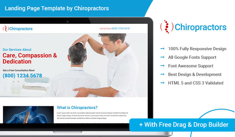 Responsive HTML5 PPC Landing Page Template Design With Free Builder For Your Chiropractic Treatment Service