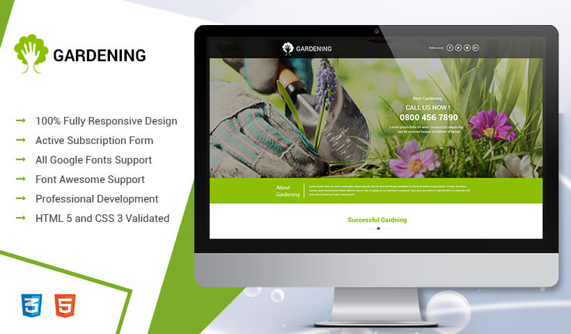 High Lead Generating Gardening Care Service HTML5 PPC Landing Page Design Template