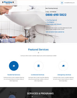 Fully Responsive Lead Generating HTML5 Plumbing Services PPC Landing Page Design Template