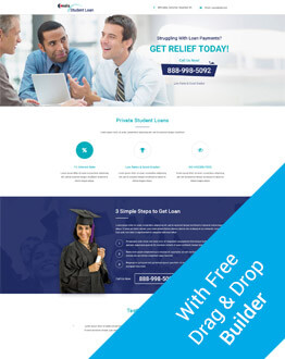 Get The Best Conversion Rate With Responsive HTML5 PPC Landing Page Design Template For Student Loan With Free Builder