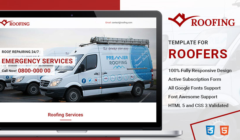 HTML5 Responsive Roofing Landing Page Design Template For Business Service Conversion
