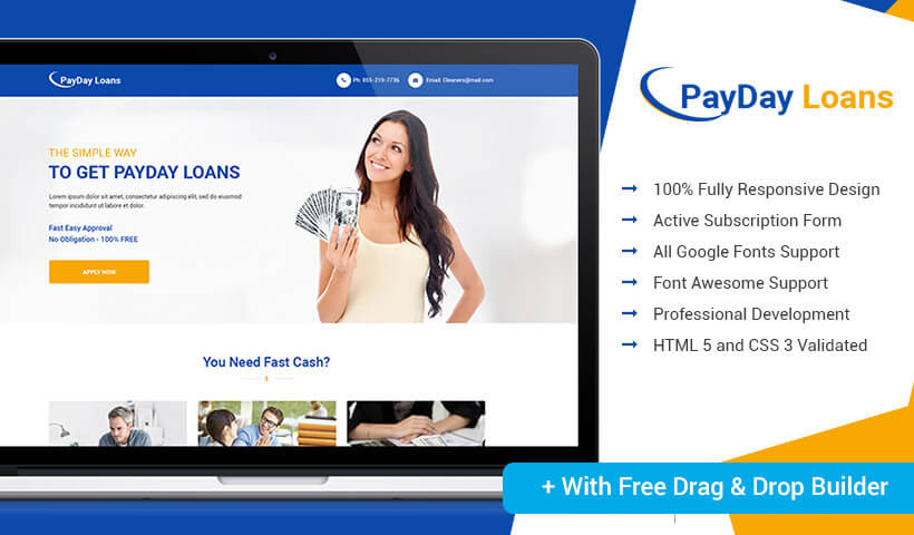 Responsive Payday Loan HTML5 Landing Page Design Template With Free Builder to capture high lead