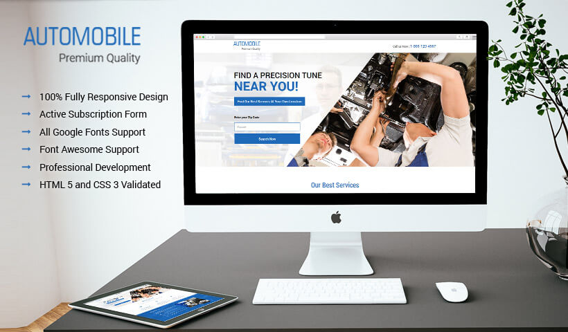 Free Landing Page Builder With Best Auto Workshop Services Landing Page Design template