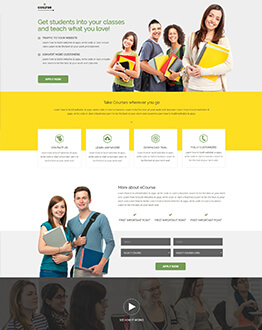 Best Responsive E-course HTML5 Landing Page Design Template To Get High Lead And Best Conversion Rate