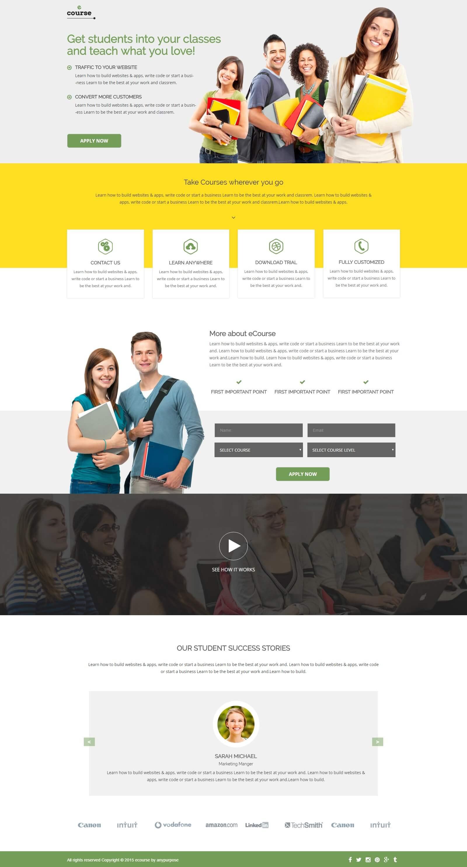 e-course landing page