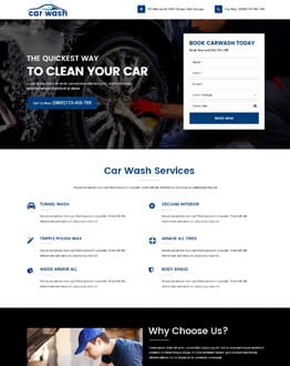 Promote Your Car Washing Services business with Car Wash Landing Page Design Template