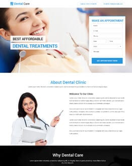 Clean and Modern Dental Care Landing Page Design Template to Promote Your Dental Care Business
