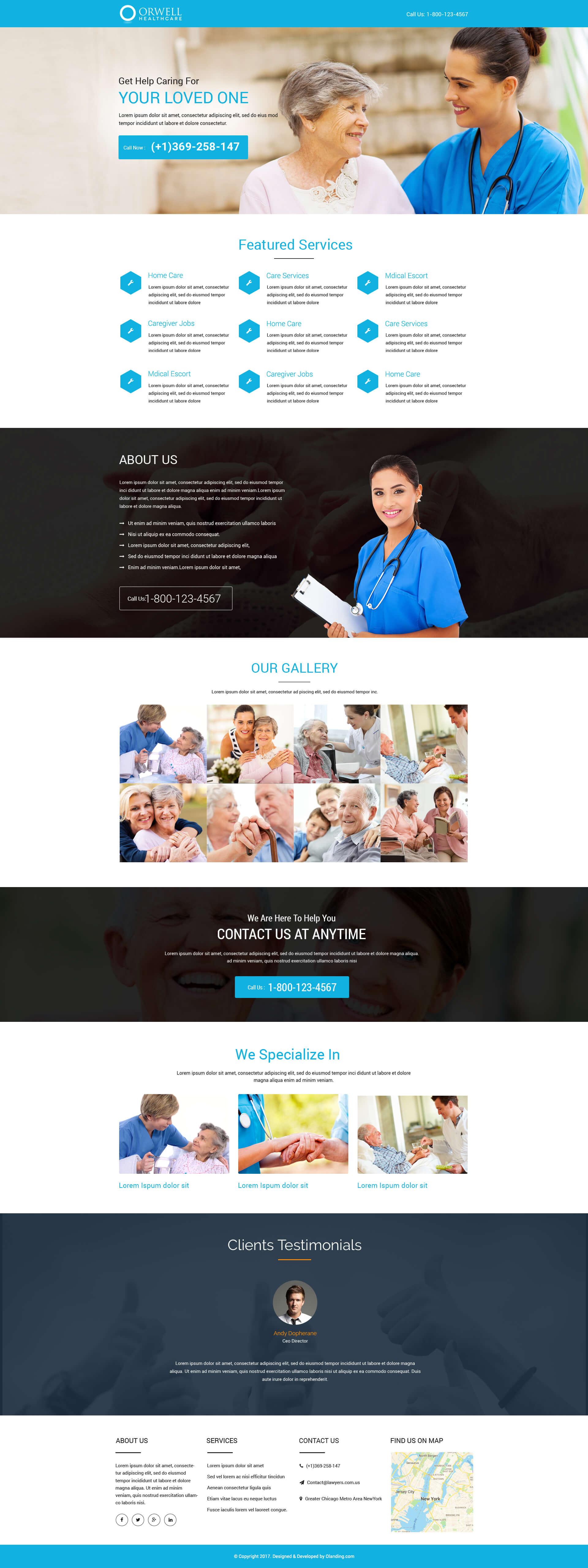 elder care landing page