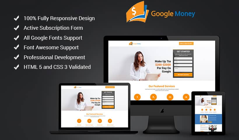 Google Money Landing Page Design Template To Earn Money With Google Product