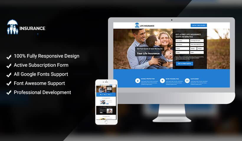 Life Insurance Landing Page Design Template To Boost Your Conversions