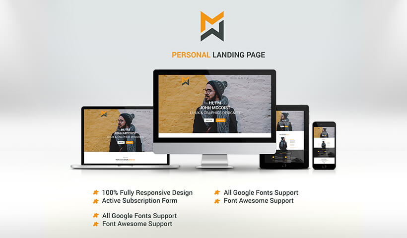 Personal landing page design template For the best way to introduce yourself
