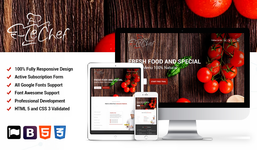 Capture High Lead With Chef And Cook Landing Page Responsive Design Template