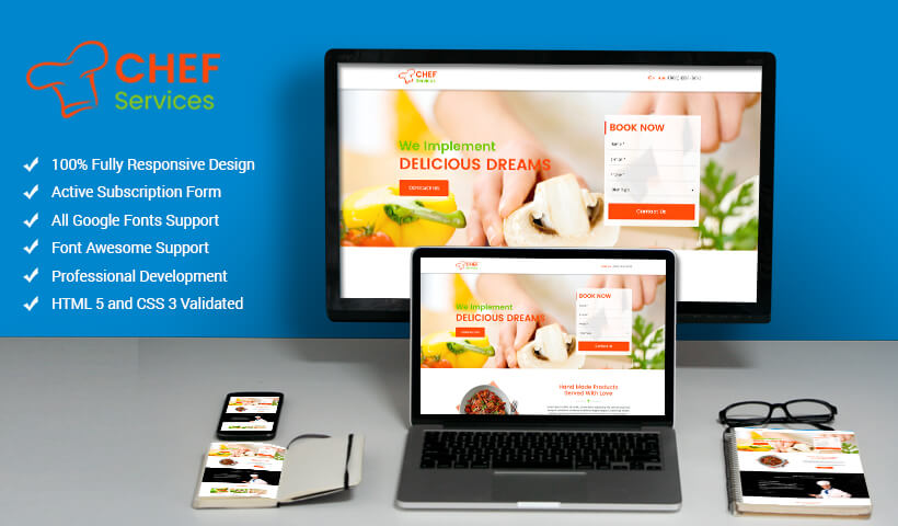 Responsive Chef Landing Page Design Template To Convert and Maximize Your Chef Business Online Reputation