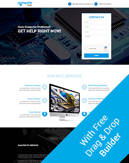 Computer Repair Landing Page Design Template With Free landing Page Builder
