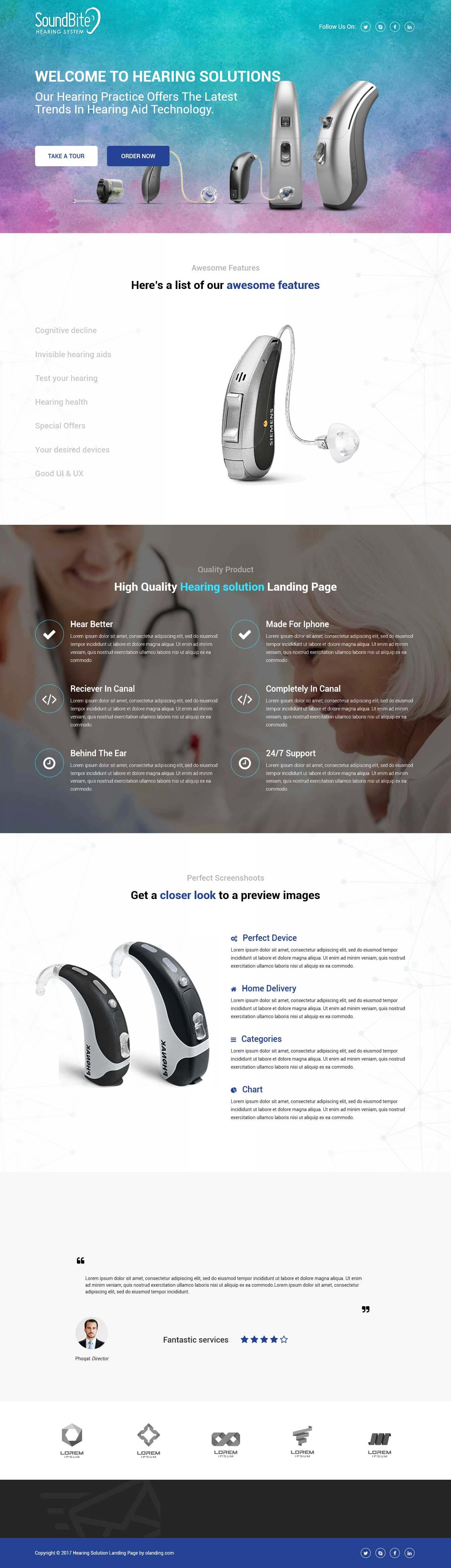 Hearing Solutions Landing Page