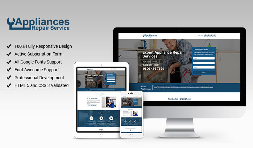 Responsive Landing Page Design Template For Appliance Repair To Capture Potential Leads