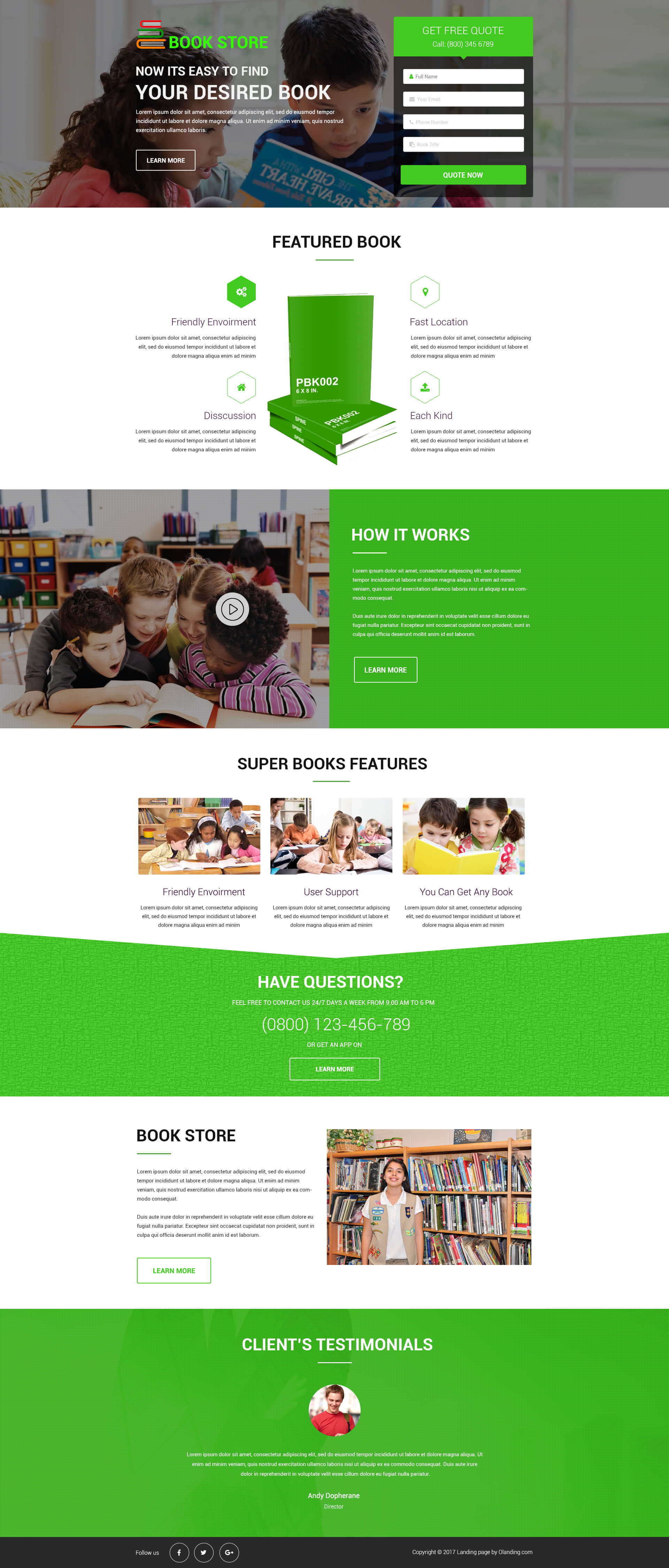 book store landing page design template to increase your online book