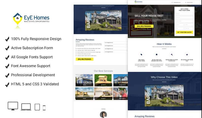 Properties landing page design template for real estate agents and broker