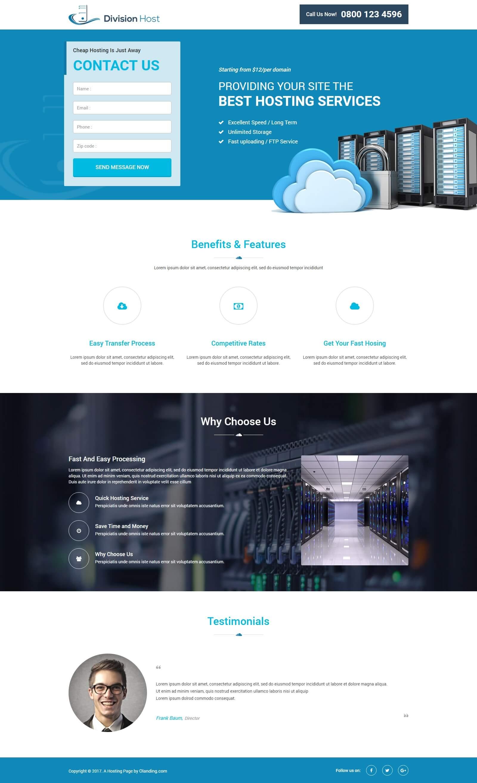 web hosting landing page template