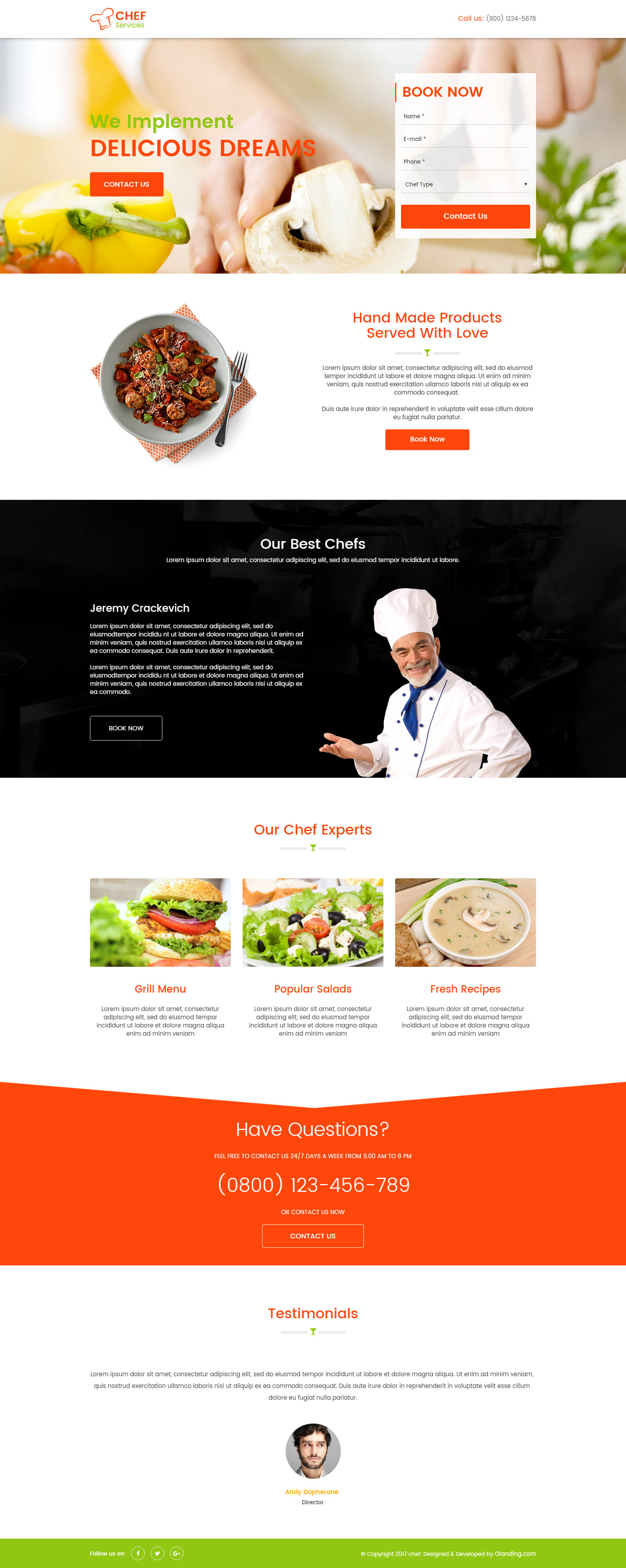 seo friendly chef landing page design template - olanding