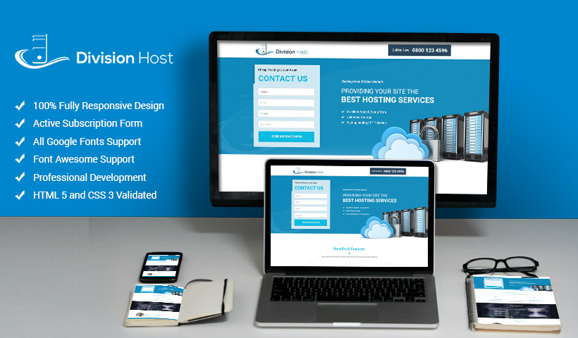 Web Hosting Responsive Landing Page Design Template To Boost Your Hosting Package Sale