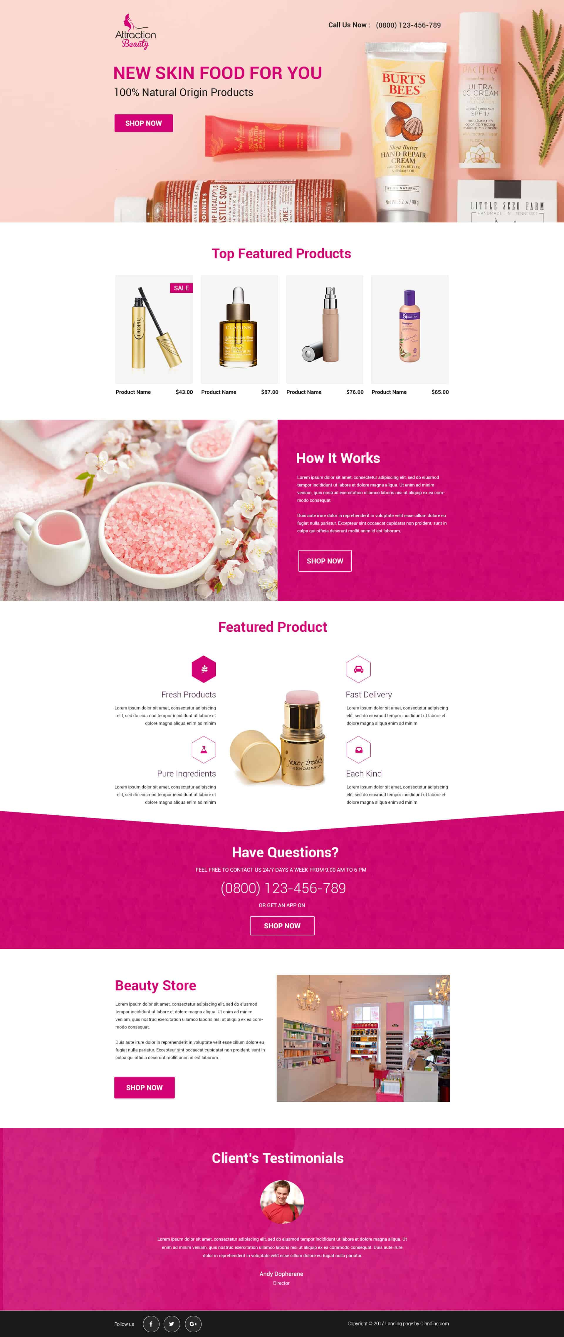 Responsive Beauty Products Landing Page Design Template To Maximize - Sales landing page template