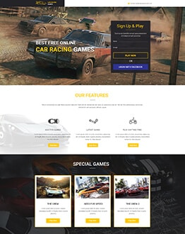 Car Race Action Games HTML Website Template