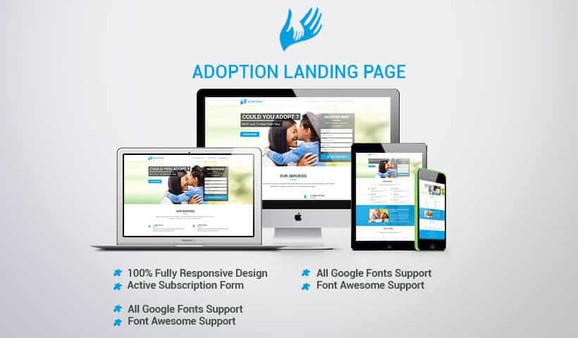 child and pets adoption landing page design Template to boost your social cause of adoption
