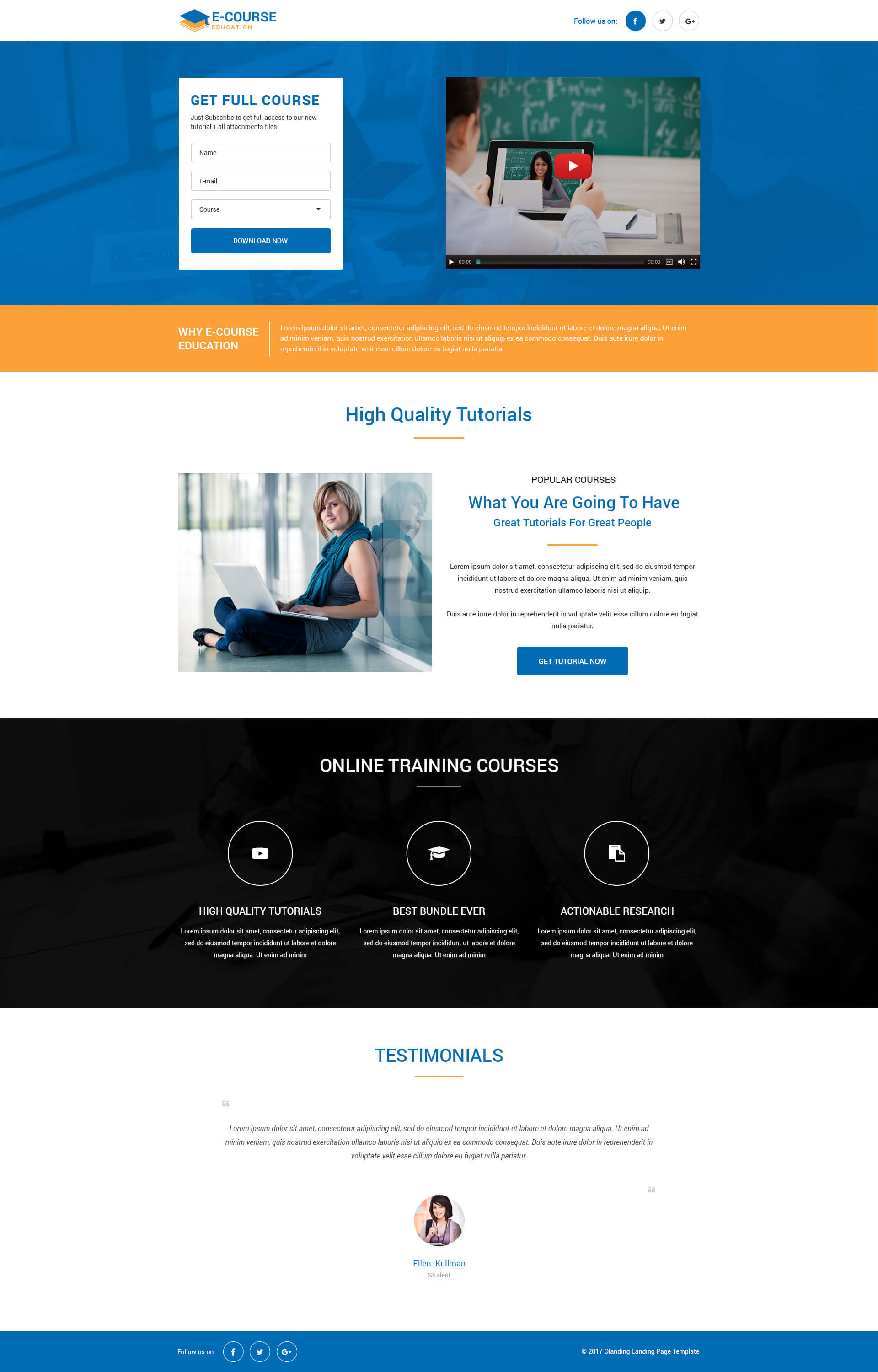 ecourse responsive education landing page design template for online education business leads. Black Bedroom Furniture Sets. Home Design Ideas