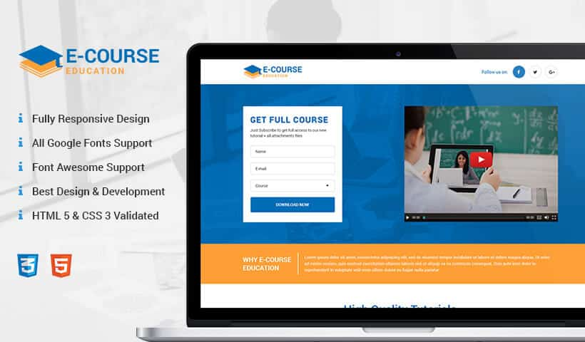 eCourse Education responsive landing page design template for online education business