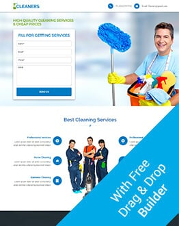 Effective, Responsive And High Lead Cleaning Services Landing Page Design Template