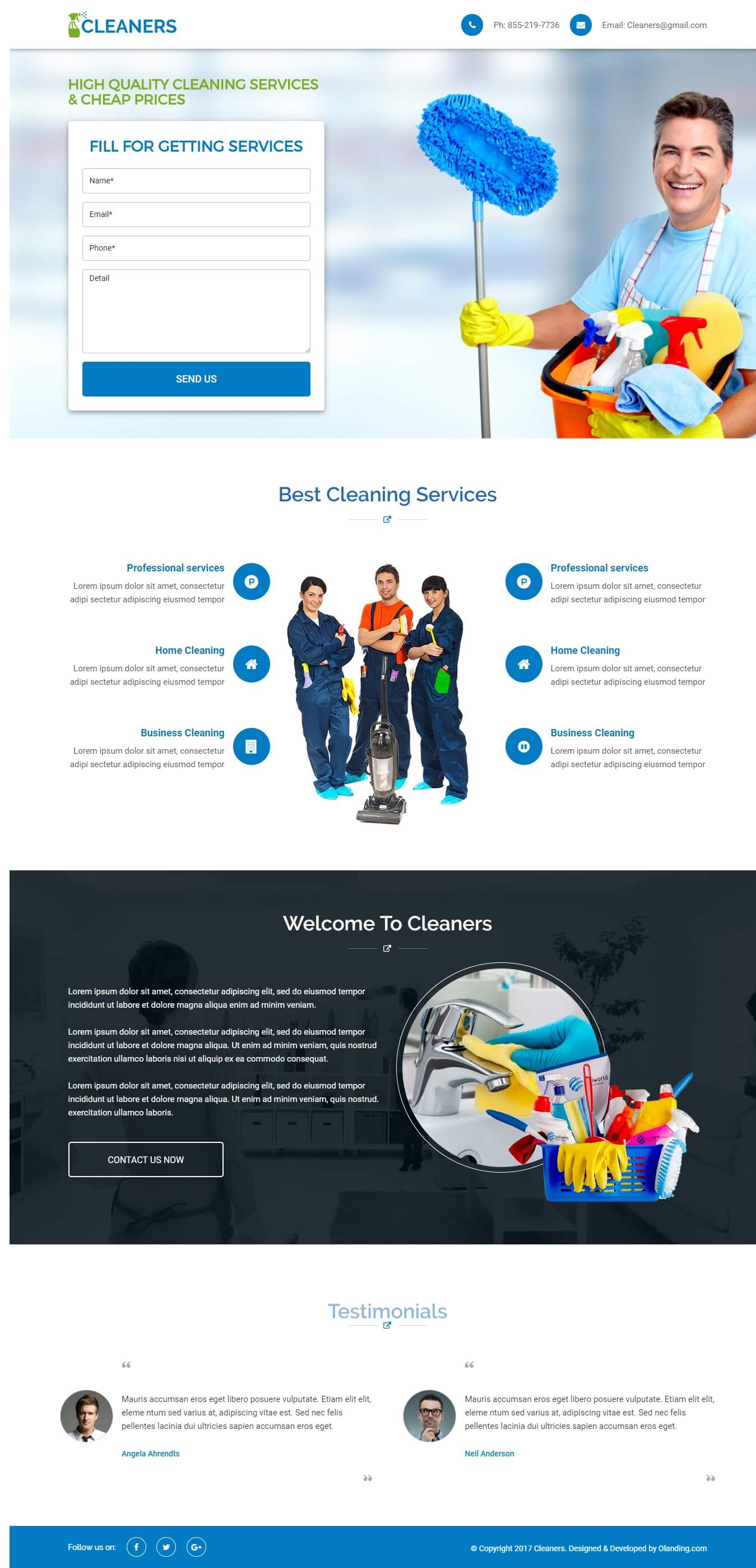 cleaning services landing page design template with free page builder. Black Bedroom Furniture Sets. Home Design Ideas