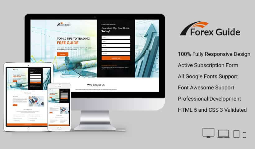 Forex Guide landing page design template for trading business