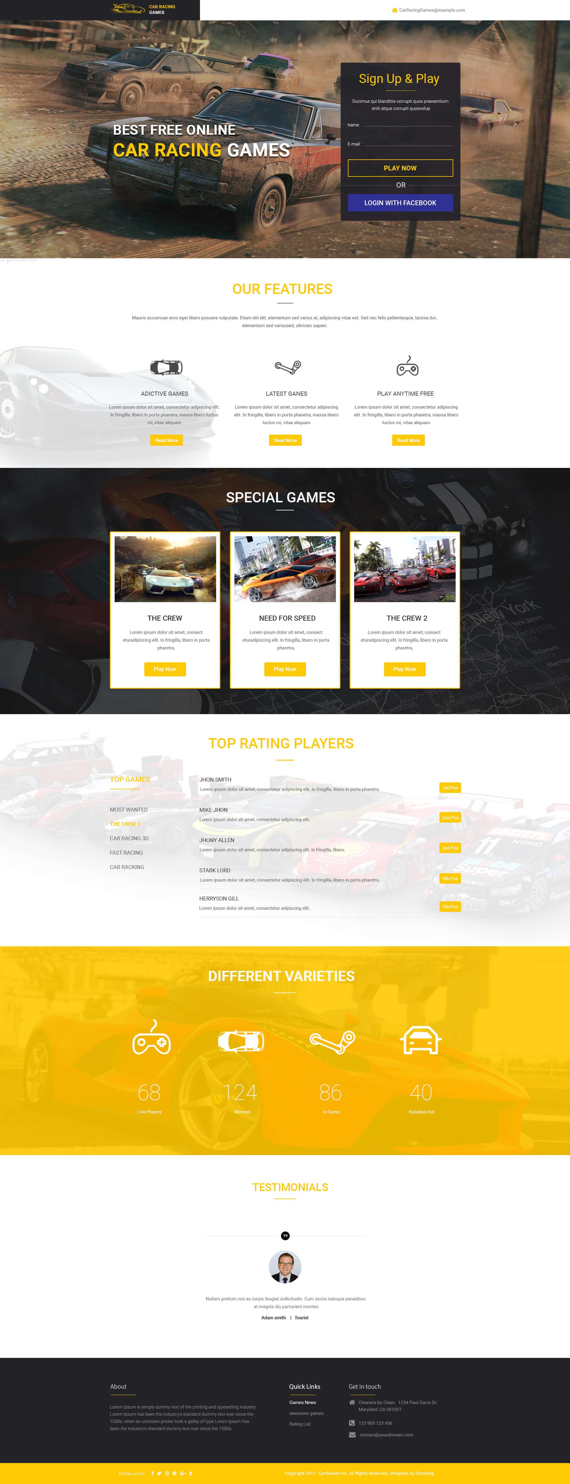car games landing page
