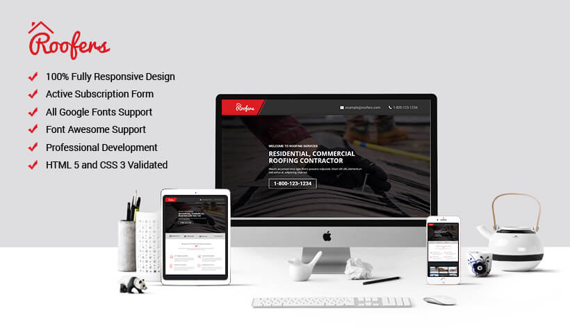 Professional Roofing PPC Landing Page Design Template With Free Builder