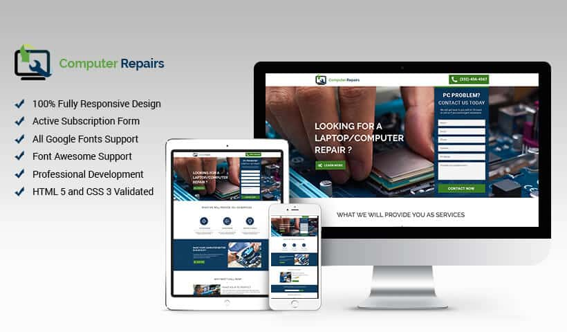 High Lead Computer Repair Services Responsive Landing Page Design