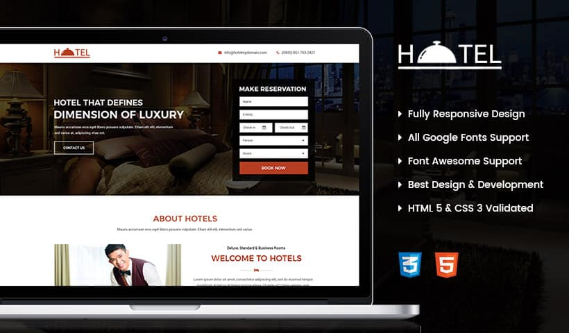 Effective High Lead Capturing Hotel and Restaurant Business Landing Page Design Template