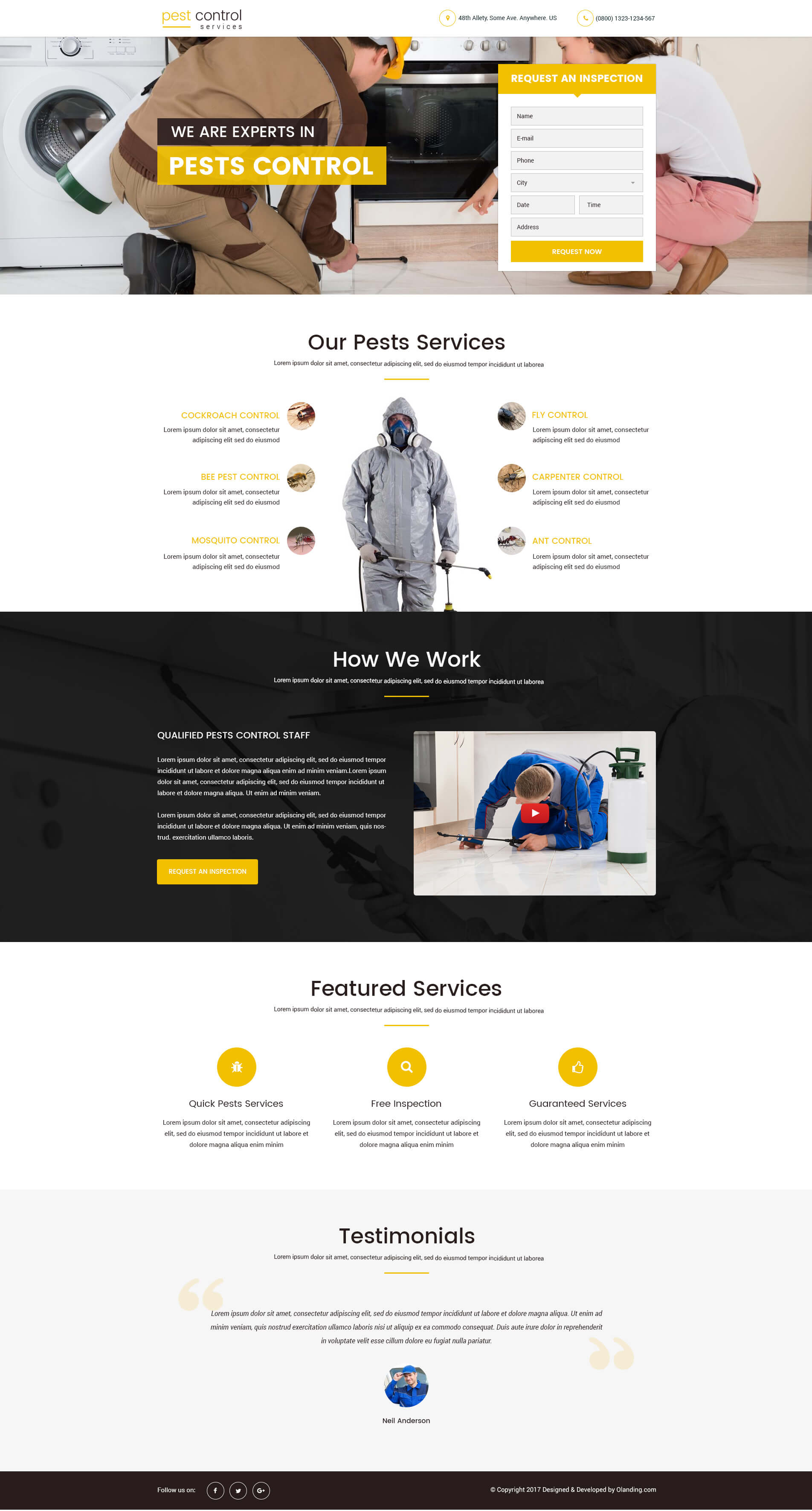 pest control landing page design