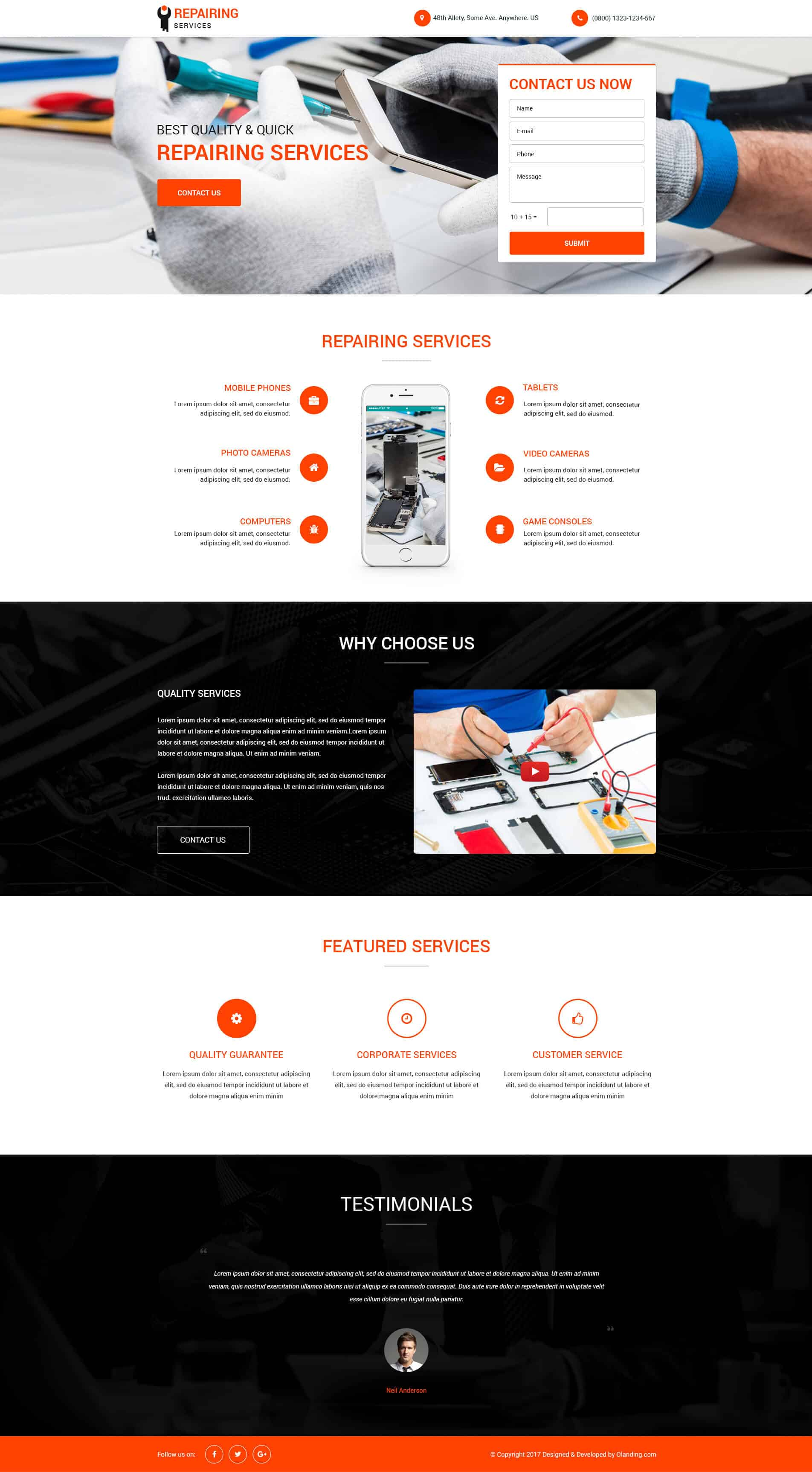 mobile repair services responsive landing page design template to capture leads online olanding. Black Bedroom Furniture Sets. Home Design Ideas