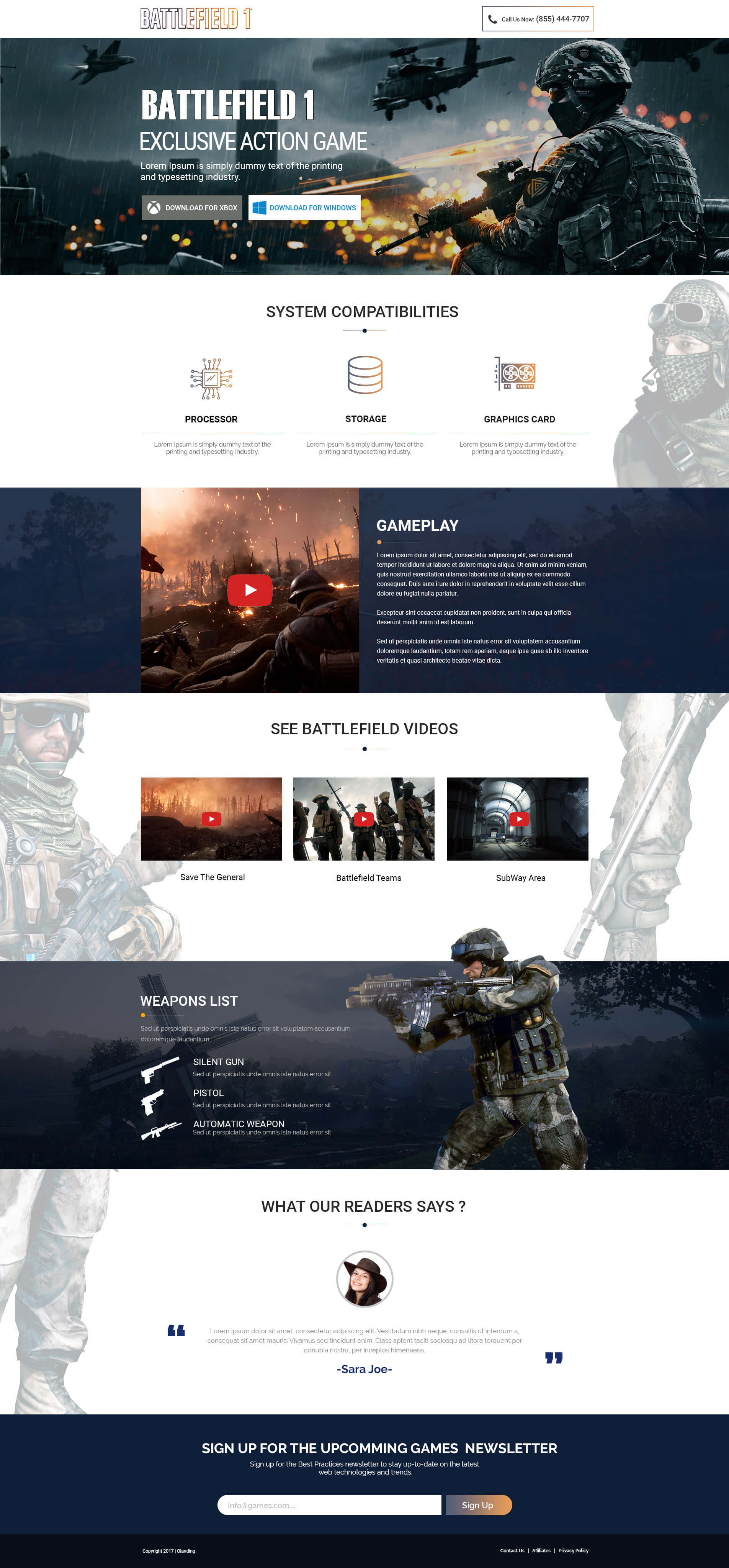 Online Action Games Landing page