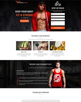 Promote Talent With Personal Trainer Landing Page Design Template
