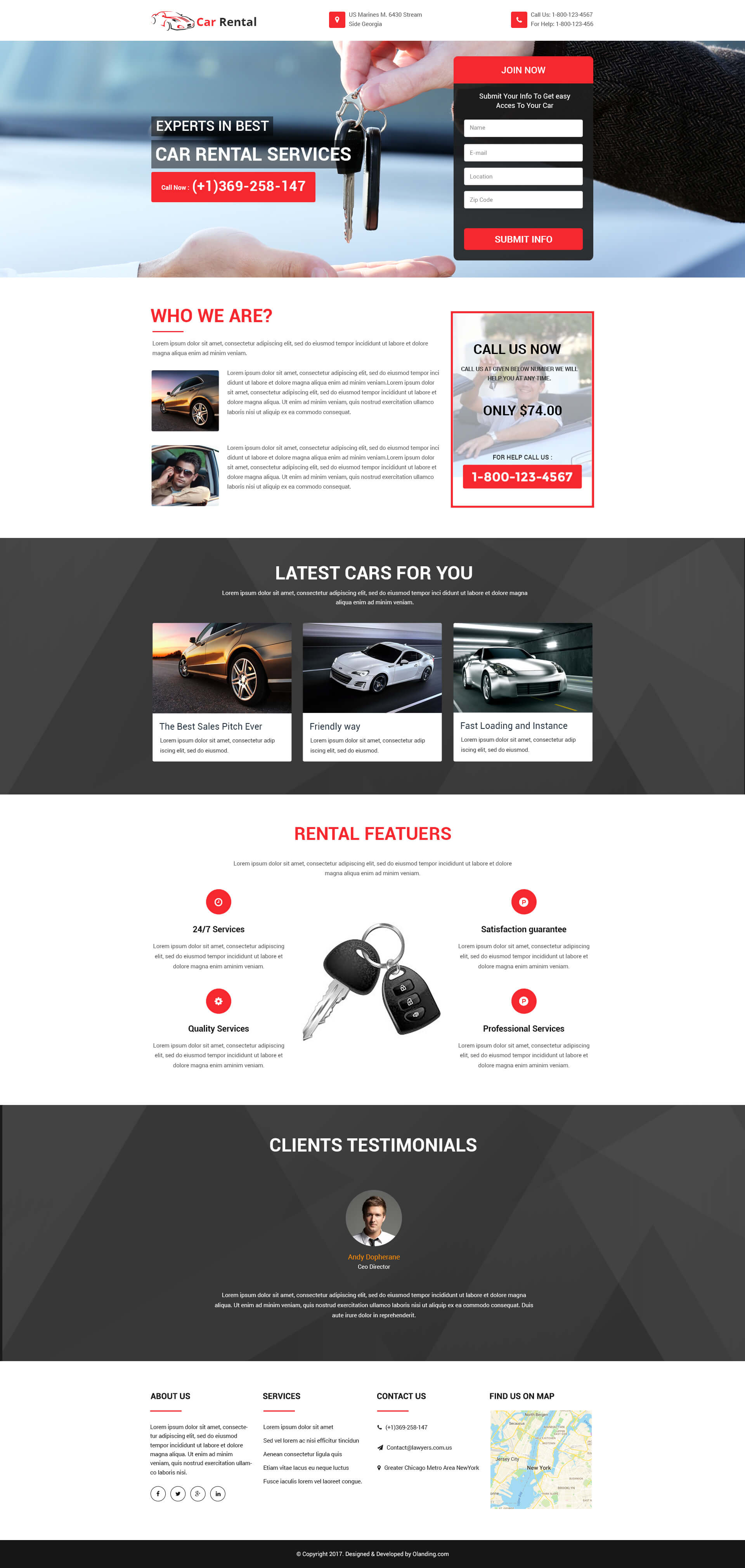 Responsive Car Rental and Car Hire Landing Page Design Templates to ...