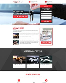 Responsive Car Rental and Car Hire Landing Page Design Templates to Boost Your Business