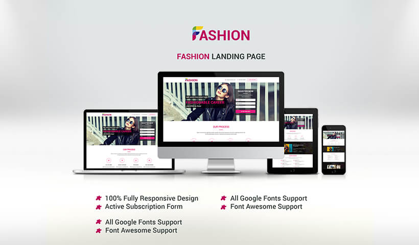 Increase your leads with Responsive Fashion and modeling landing page design Template
