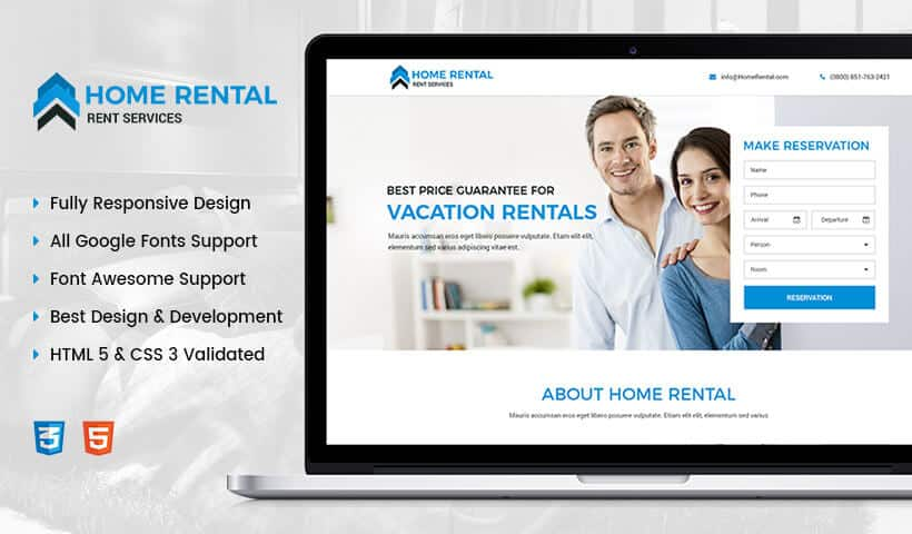 Home Rental html website template landing page design templates for real estate agents