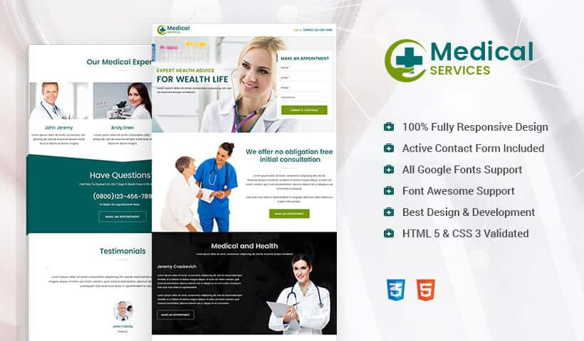 Responsive Landing Page Design Template for Medical Store, Product and Services