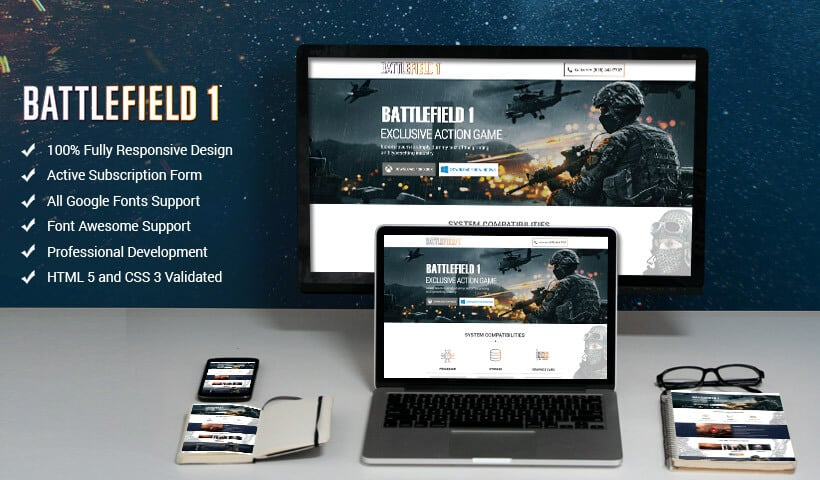 Online Action games landing page design Template